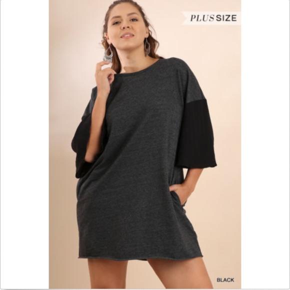 ee78e0d48d3 UMGEE Bell Sleeve T-Shirt Pocket Dress Raw Hem